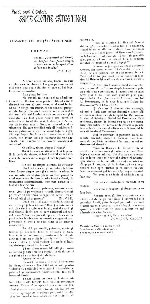 Parintele Gheorghe Calciu Intaiul Cuvant Catre Tineri 8 martie 1978