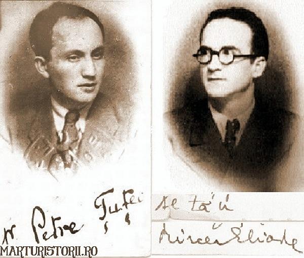 Petre Tutea si Mircea Eliade tineri si cu semnatura