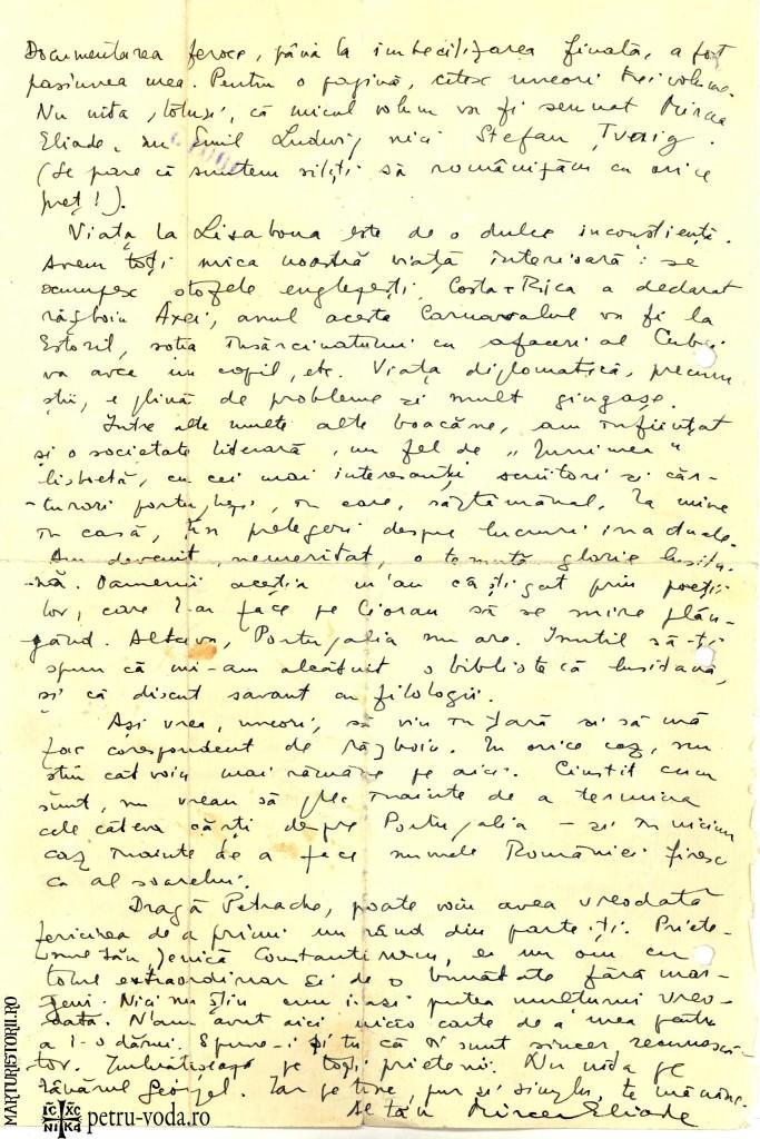 Scrisoare olografa Mircea Eliade catre Petre Tutea 1941 - Pag 1 -Petru-Voda.Ro - Marturisitorii.Ro