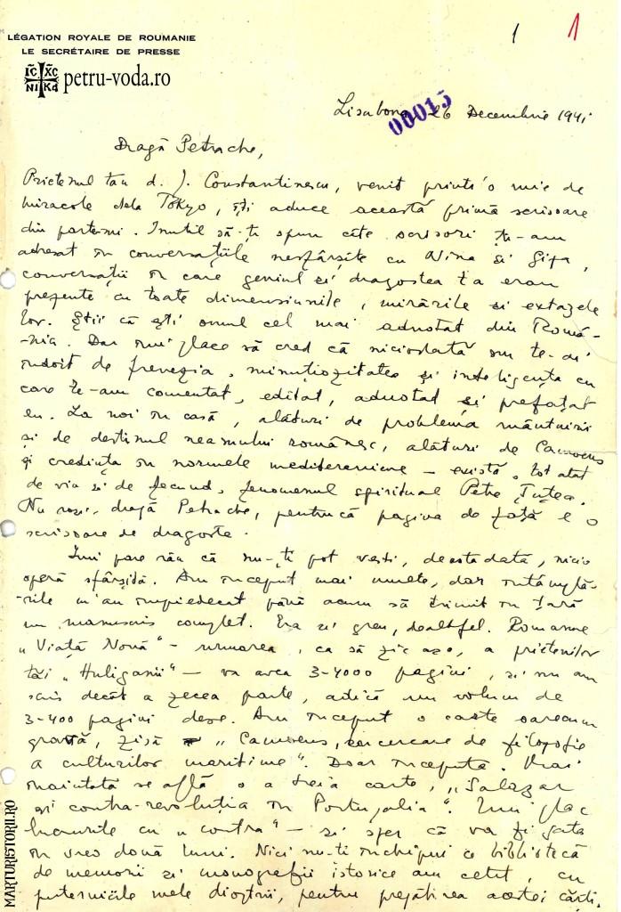 Scrisoare olografa Mircea Eliade catre Petre Tutea 1941 - Pag 2 -Petru-Voda.Ro - Marturisitorii.Ro