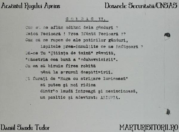 Condac II Daniil Sandu Tudor Acatistul Rugului Aprins Marturiistorii Ro