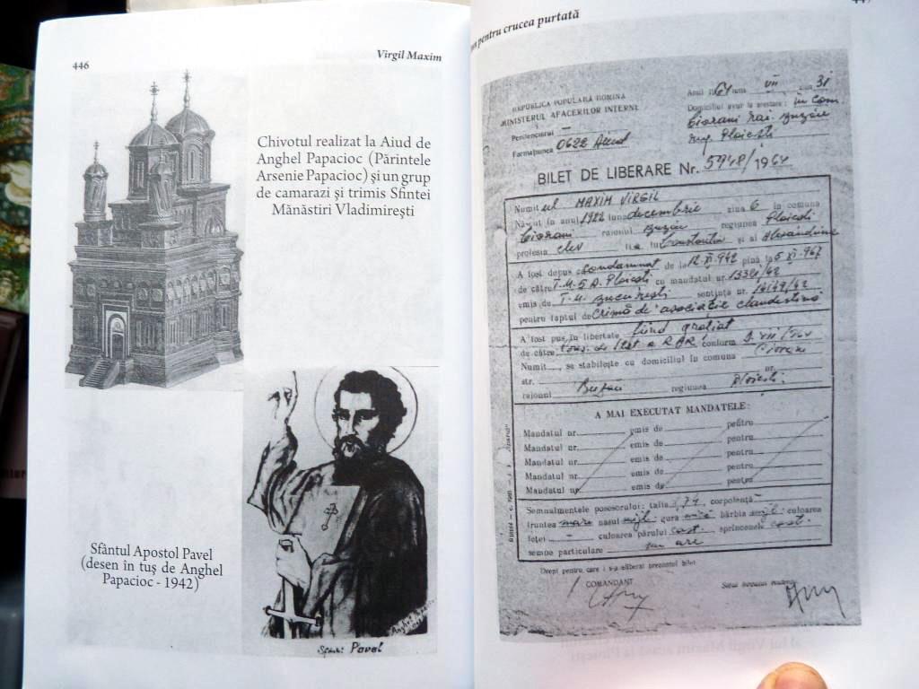 Desen si Chivot de P Arsenie Papacioc si Biletul de Eliberare din Inchisore al lui Virgil Maxim Fotografii de Arhiva din cartea Imn pentru Crucea Purtata Ed 3 Ed Babel 5