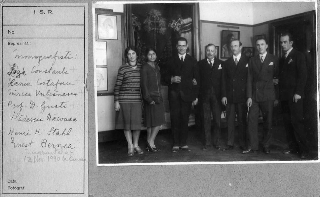 Monografistii Elisabeta Constante, Xenia Costaforu, Mircea Vulcanescu, D. Gusti, Vladescu, Stahl, Ernest Bernea
