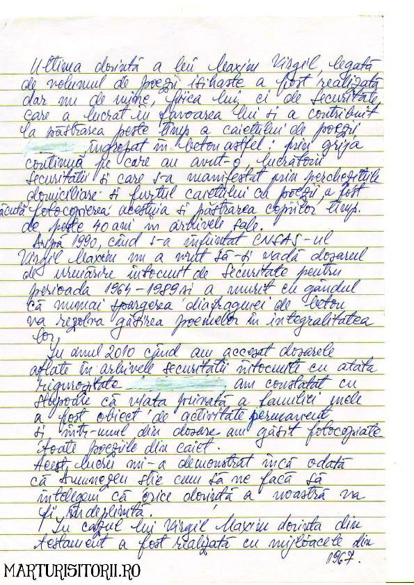 Scrisoarea Tatianei Maxim despre Testamentul lui Virgil Maxim - Marturisitorii Ro