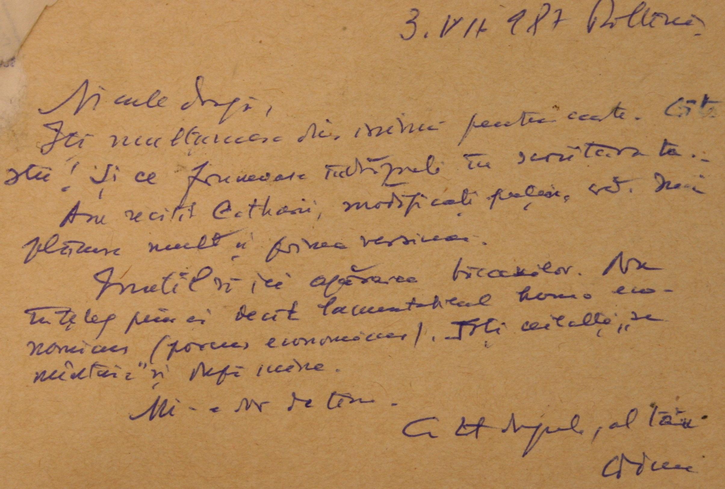 Constantin Noica despre Catarii de la Paltinis intr-o carte postala olografa catre P Nicolae Steinhardt