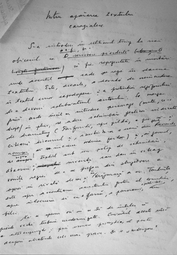 Intru apararea lui Caragiale de Nicolae Steinhardt facsimil olograf BCU Verso via Marturisitorii Ro