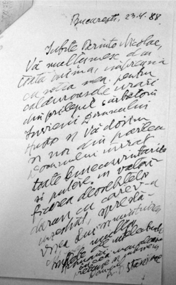 Parintele Dumitru Staniloae catre Parintele Nicolae Steinhardt Paste 1988 Olograf Verso via Marturisitorii