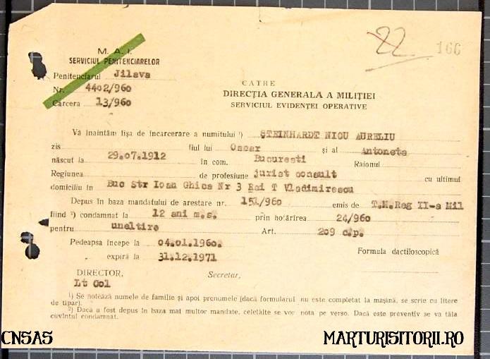 Trimitere Fisa Incarcerarea Jilava Nicolae Steinhardt - Marturisitorii Ro