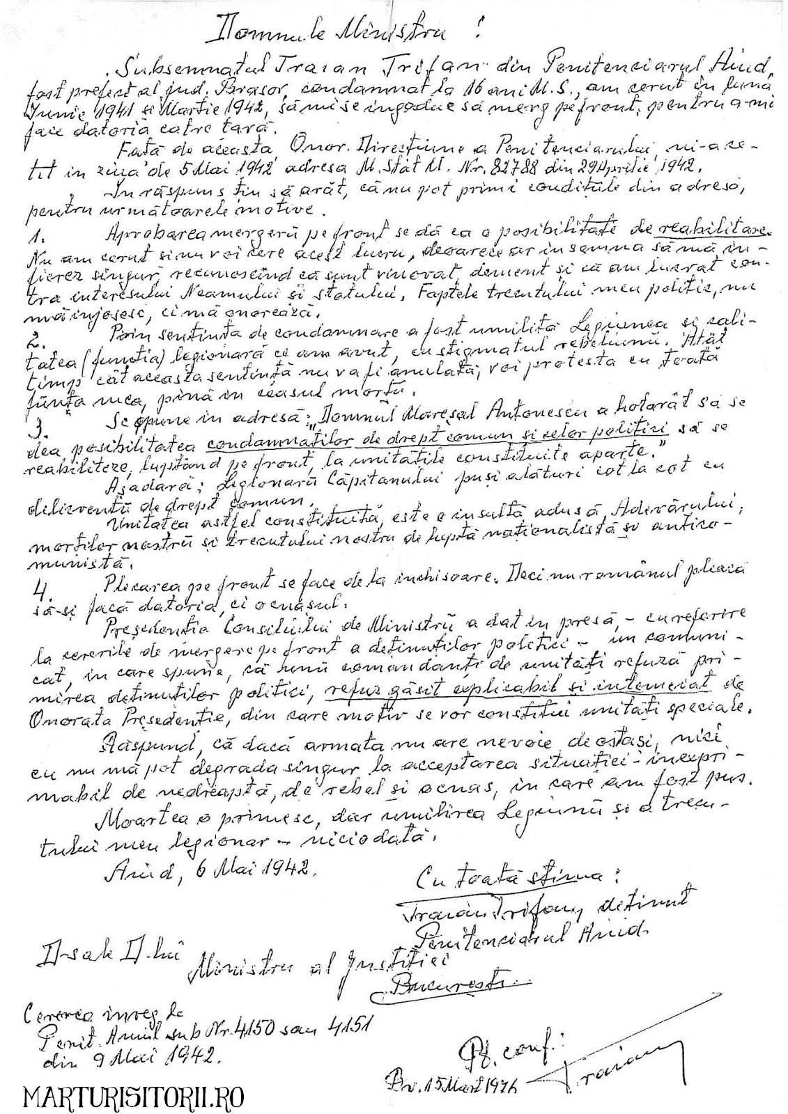 Traian Trifan - Scrisoare Olografa din Penitenciarul Aiud 6 Mai 1942 MARTURISITORII RO
