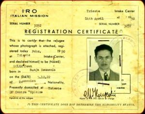 Ion Golea Document Refugiat