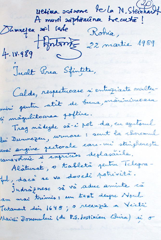 scrisoare olografa -nicolae steinhardt - antonie plamadeala