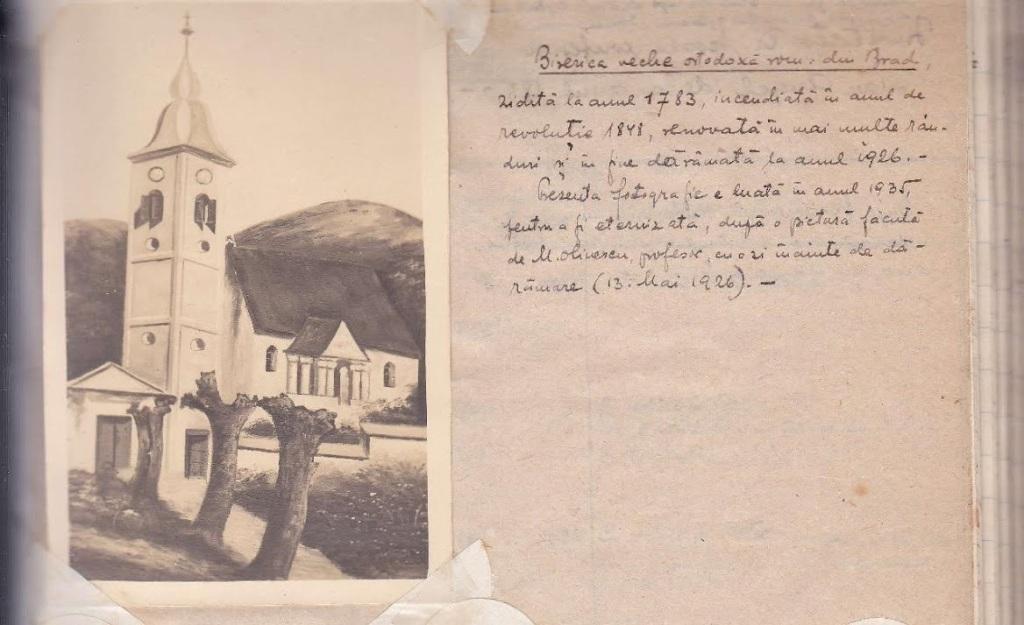 imagine cu vechea biserica din Brad (luata din condica parohiei avand insemnarile Pr. Virgil Perian-1