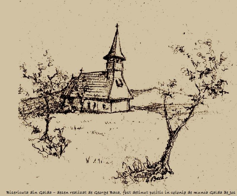 Bisericuta din Galda – desen realizat de George Baca, fost detinut politic in colonia de munca Galda de Jos