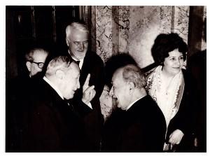 Pan Vizirescu, Parintele Dumitru Staniloae, Ion Petrovici si Nichifor Crainic la aniversarea sa de 80 de ani - 23 Decembrie 1969