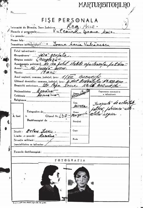 Fisa Dosarul Penal Mariuca Vulcanescu - Marturisitorii Ro