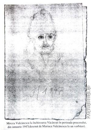 Mircea Vulcanescu in temnita desenat de fiica sa Mariuca Vulcanescu - Marturisitorii Ro