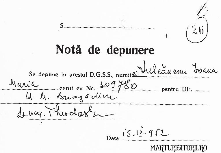 Nota de depunere arest Mariuca Vulcanescu - Marturisitorii ro