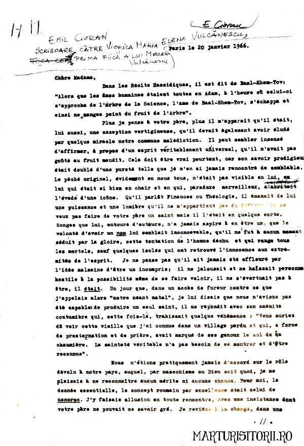 Scrisoarea Emil Cioran - Mircea Vulcanescu - Marturisitorii 1