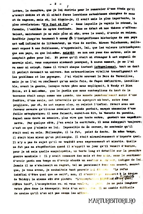 Scrisoarea Emil Cioran - Mircea Vulcanescu - Marturisitorii 2