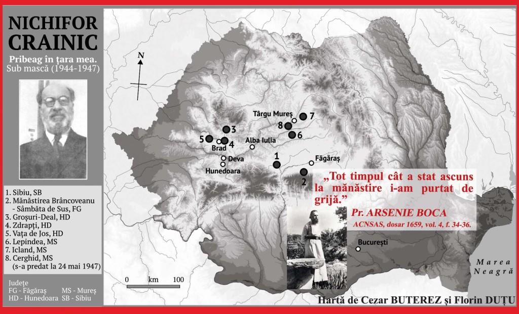 harta Pribegiei lui Nichifor Crainic-intocmita de Cezar  BUTEREZ si Florin DUTU - Marturisitorii Ro