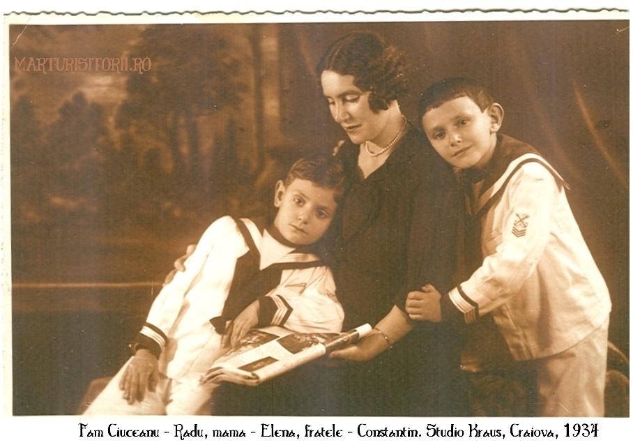 Fam Ciuceanu - Radu, Elena, Constantin - Craiova, foto studio Kraus, 1934