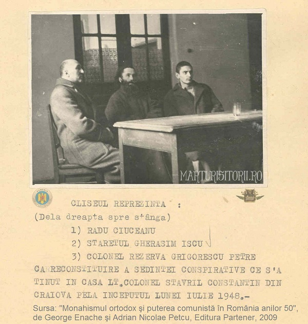 Parintele martir Gherasim Iscu - staret Tismana, col Petre Grigorescu si Radu Ciuceanu la reconstituirea Securitatii 1948 - CNSAS - Marturistorii Ro via Roncea Ro