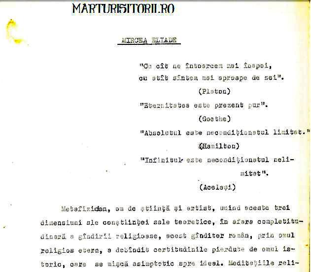 Petre Tutea despre Mircea Eliade