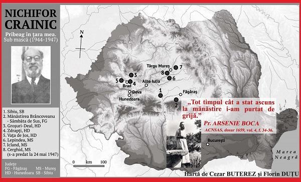 harta Pribegiei lui Nichifor Crainic - intocmita de Cezar BUTEREZ si Florin DUTU - Marturisitorii Ro