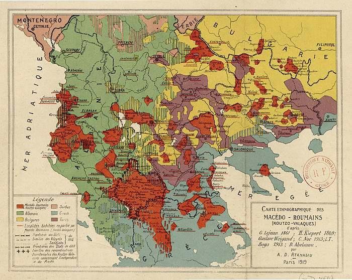 Harta zonelor locuite de aromani propusa Conferintei de pace de la Paris in 1919. Autor Dumitru A. Atanasiu, aroman