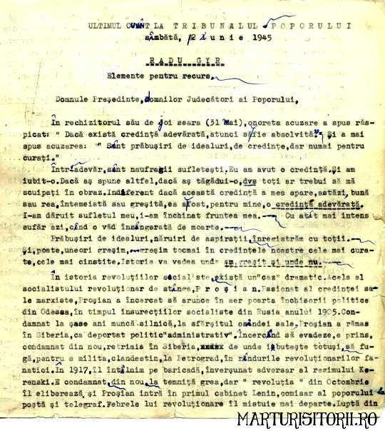 Radu Gyr - Ultimul Cuvant - Document - Marturisitorii