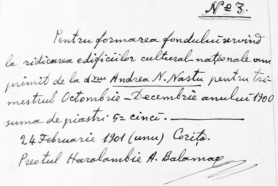 Recipisa semnata de Papa Lambru Balamaci la 24 februarie 1901, la Corcea