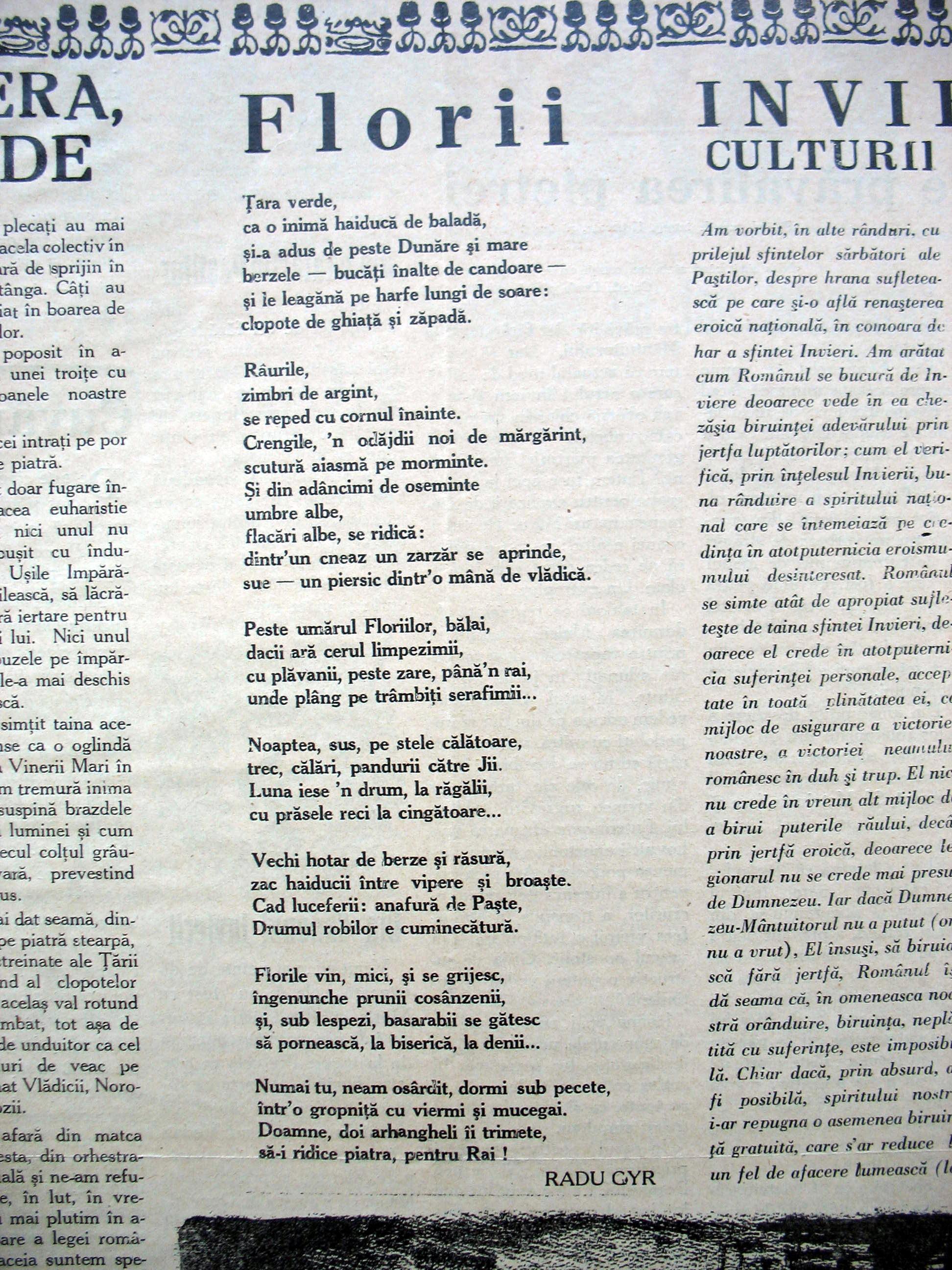 PAMINTUL-STRAMOSESC-745 Radu Gyr Florii