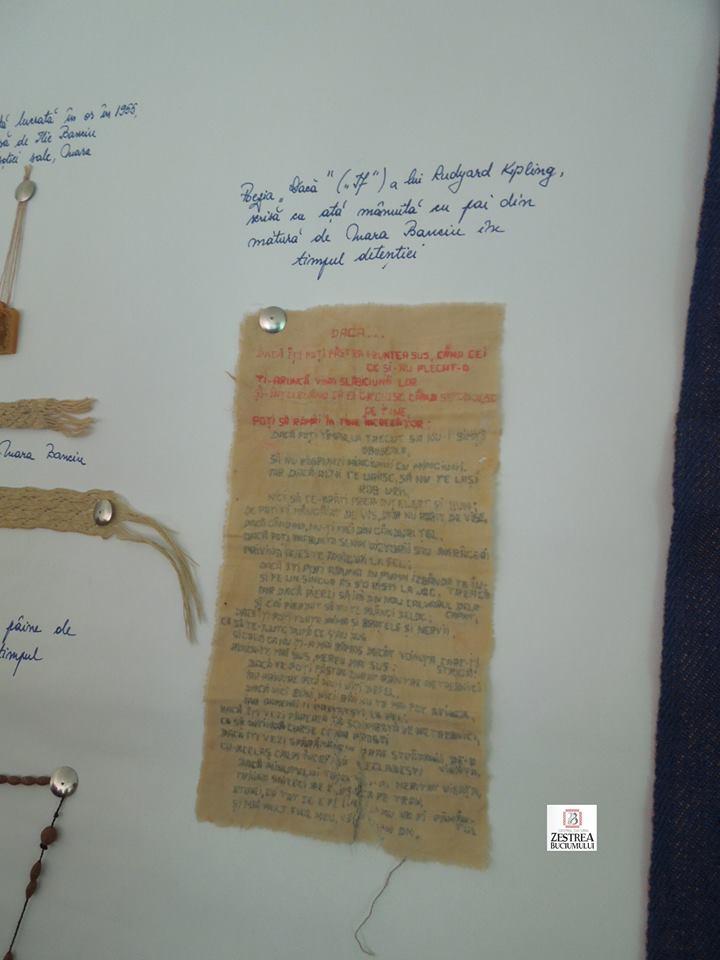 Poezia DACA scrisa cu ata manuită cu pai din matura de Mara Banciu in timpul detentiei
