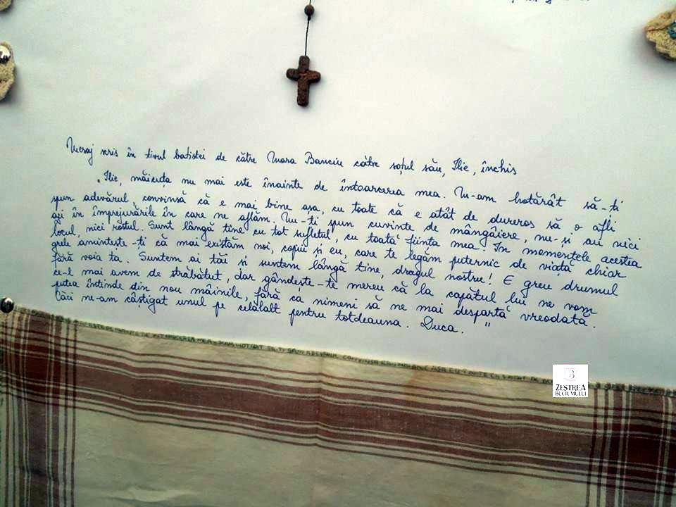 Scrisoare cusuta pe tiv de Mara Banciu pt sotul ei Ilie
