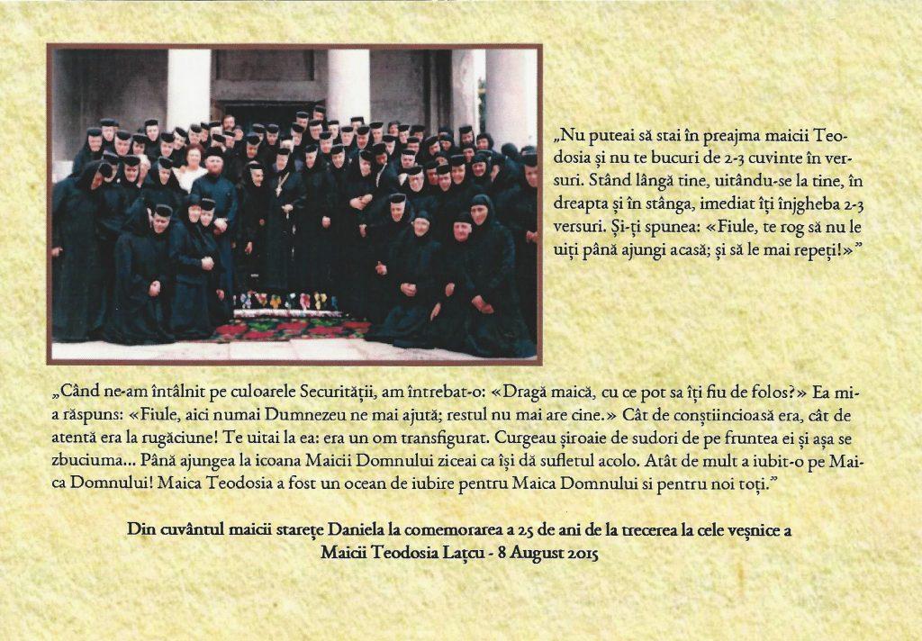 maica Teodosia - Zorica Lațcu -marturia staretei Daniela
