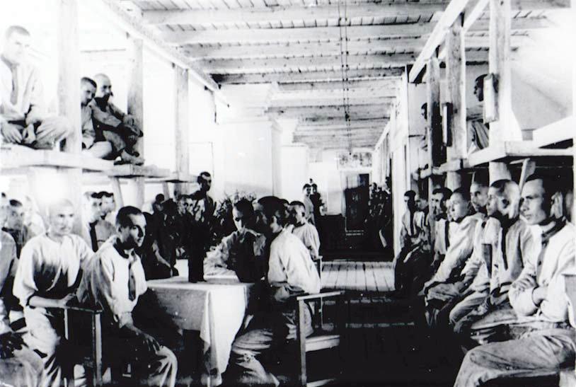 """Workuta-ITL, Genesungsbaracke für """"geschwächte Häftlinge"""" (Propagandaaufnahme). 1945"""